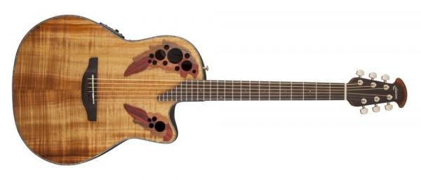 Ovation E-Akustikgitarre Celebrity Elite Plus Mid Cutaway, Figured Koa