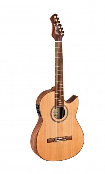 ORTEGA Ben Woods Signature Gitarre Reversed Headstock Nylon 6 String, FLAMETAL-TWO