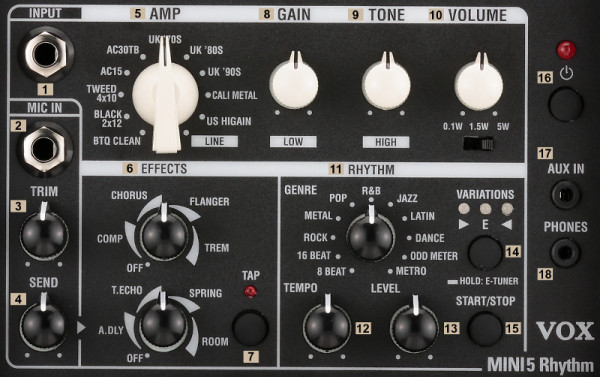 """VOX E-Gitarrencombo, Mini5 Rhythm 6,5"""", 5W, Amp Modeling, Ivory VXMINI5RIV"""