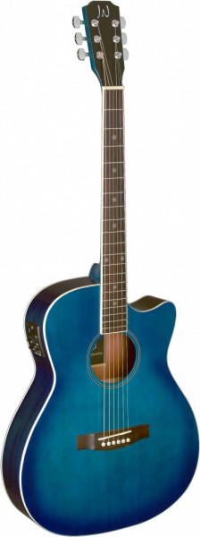 James Neligan BES-ACE TBB Transparent Blueburst akustisch-elektrische Auditorium-Gitarre