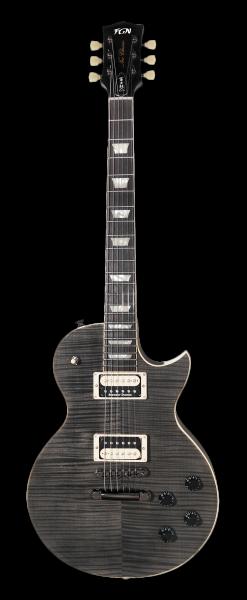FGN E-Gitarre, Neo Classic LS20, Flamed-Maple Furnier, Transparent Black, Tasche, FGLS20RBFTK