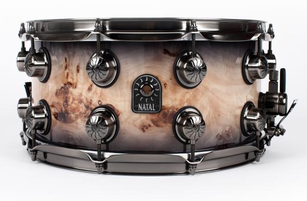 NATAL Snare, Mappa Burl, 14x7, Black Smoked Gloss NASDMBBBS47