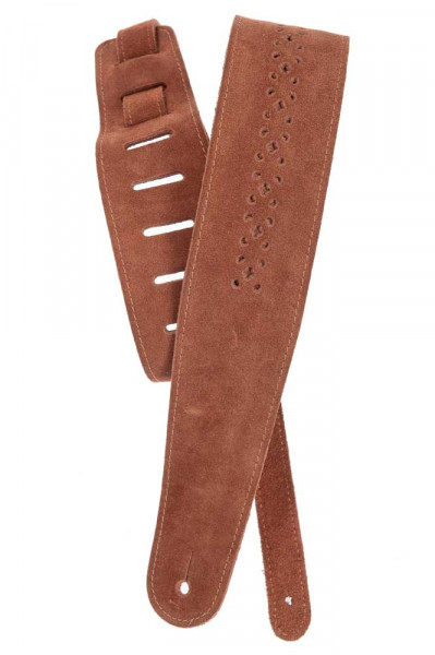 Planet Waves 25PRF04 Vented Leather Collection Wildledergurt - Camel Suede Rosette